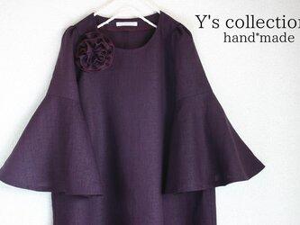 *フォーマル・紫・リネン・ベルスリーブ・ワンピース*の画像