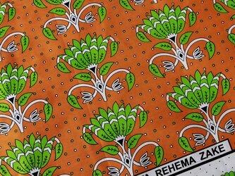 アフリカ布『カンガ』オレンジ × グリーンの画像