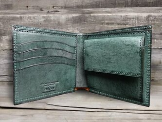 男の本革二つ折り財布 --- 国産牛革ロロマ [グリーン]の画像