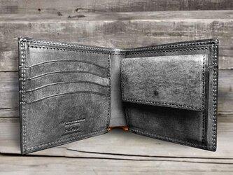 男の本革二つ折り財布 --- 国産牛革ロロマ [ブラック]の画像