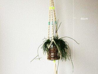 プラントハンガー01/麻紐、アクリル、コットン/吊り縄3本/i-pieceの画像