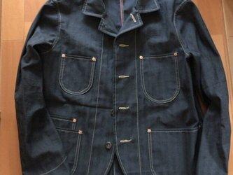 <受注製作>デッドストック綿麻ヘリンボーンsack coat サックコート カバーオールの画像