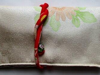 送料無料 花柄の着物で作った和風財布・ポーチ 3879の画像