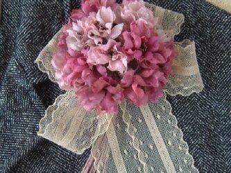 ミニ薔薇の花束 ピンクミックス* シルクデシン製 * コサージュの画像
