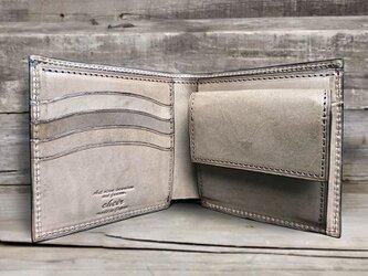 男の本革二つ折り財布 --- 国産牛革ロロマ [セピア]の画像