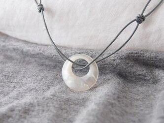 Gray Leather Pendant(White Moon)の画像