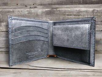 男の本革二つ折り財布 --- 国産牛革ロロマ [ネイビー]の画像