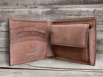 男の本革二つ折り財布 --- 国産牛革ロロマ [ブラウン]の画像