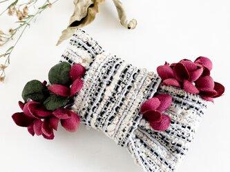 Hair accessory : 溢れる小花のリボンバレッタの画像