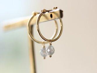 K18 バルーンダイヤモンド・フープピアスL の画像