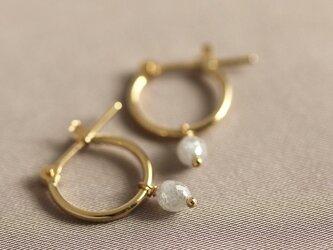 K18 バルーンダイヤモンド・フープピアスSの画像