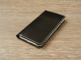牛革 iPhoneXRカバー  ヌメ革  レザーケース  手帳型  ブラックカラーの画像