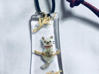 ガラス胎七宝 シャム猫 ネックレスの画像