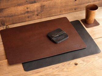 [ラージサイズ] 一枚革のデスクマット/イタリア産ベジタブルタンニンレザー床革の画像