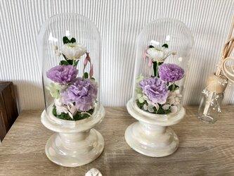 クリアドーム 仏花 供花 ブラウンの画像