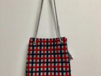ネイビー&レッド&シルバー:Woolチェックの船底巾着bagの画像
