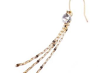 <片耳から>ダイヤモンドとK18チェーンのロングピアス【Pio by Parakee】Rose cut diamondの画像