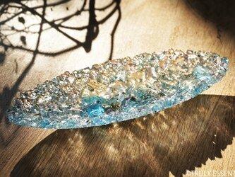 ガラスのアクセサリートレイ - KUBOMI ● ターコイズブルー・20cmの画像