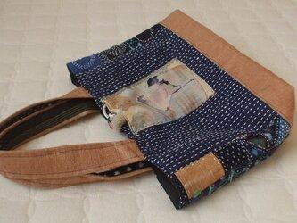鶴のメリンス古布がポイントの刺し子藍染トートバック 木綿の画像