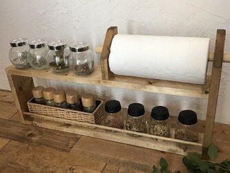 2段kitchen paper shelf long w62 h33 BB キッチンペーパー スパイスラックの画像