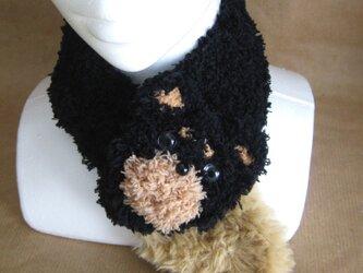 ネックウォーマー 黒柴のわんこ ブラックxブラウンの画像