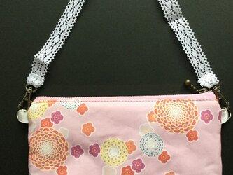 オリジナル和柄のポーチ (花柄 ピンク)の画像