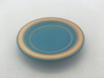 トルコ青マット丸豆皿の画像