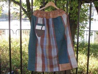 チェックのスカート ●80センチ丈● 裏地ありの画像