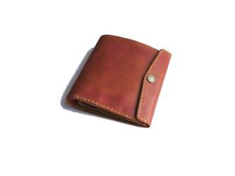 財布 二つ折り ピンク 手染めの画像