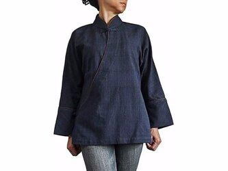 ジョムトン手織り綿カシュクール風チャイナ インディゴ紺(BFS-149-03)の画像