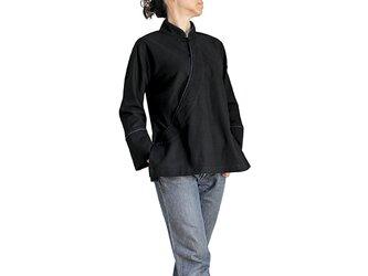 ジョムトン手織り綿カシュクール風チャイナ 黒(BFS-149-01)の画像