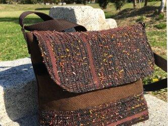 メッセンジャーバッグ(大)秋色の裂織りの画像