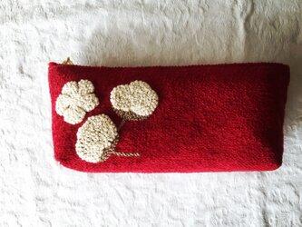 綿花刺繍のポーチ(あか)の画像