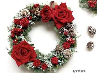 レッドローズのクリスマスリースの画像