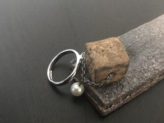焼締「cube」&パールのリングの画像