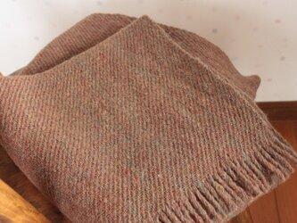 【手紡ぎ・手織り】ウール ショール 茶色 森の大地 の画像