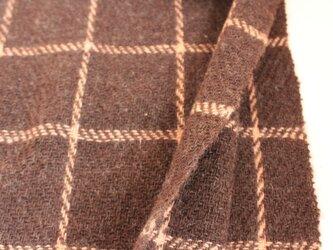 【手紡ぎ・手織り】ウール ショール 茶色 格子の画像