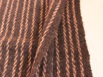 【手紡ぎ・手織り】ウール ショール 茶色 ラインの画像