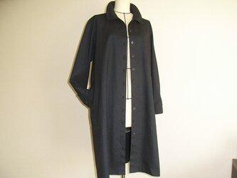 綿のコートワンピース(紺)の画像