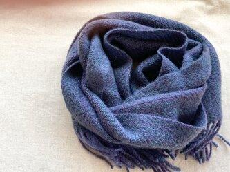 【カシミヤ 手紡ぎ・手織り】 マフラー 深い青 濃い青 紺の画像