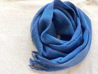 【カシミヤ 手紡ぎ・手織り】 マフラー 瑠璃色 ブルー 青系の画像