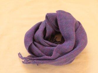 【カシミヤ 手紡ぎ・手織り】 マフラー 青紫 鮮やかな紫 明るいパープルの画像