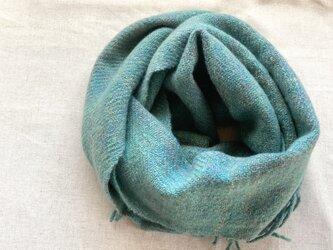 【カシミヤ 手紡ぎ・手織り】 マフラー 孔雀緑 ピーコックグリーンの画像