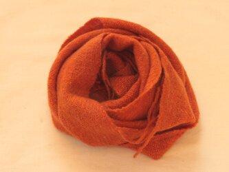 【カシミヤ 手紡ぎ・手織り】 マフラー 辰砂 銀朱 オレンジ系の画像