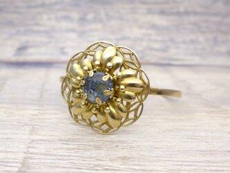 大きなお花のバングル 濃紺 青 星空:真鍮 ガラス ビンテージ ヴィンテージの画像