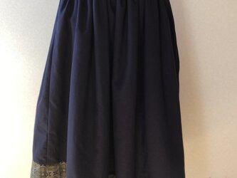 綿ウール×着物地ギャザースカートの画像
