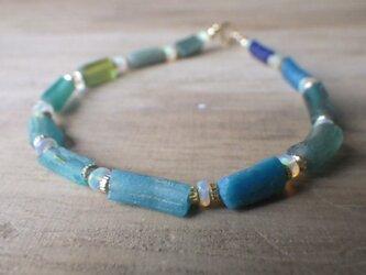 ローマングラス*オパール*Roman-glass&Opal Ocean Bracelet with Opal *14kgf*の画像