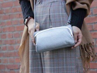 【送料無料】お財布ショルダー シルバー がま口 スマホ財布 姫路レザーaw-17nnsの画像