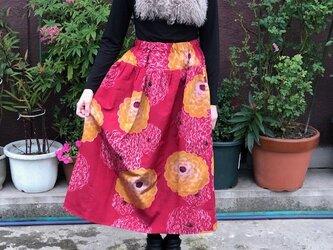 着物リメイク大輪の和菊合わせ羽裏地付きスカートMの画像
