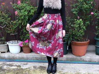 銘仙山吹色の薔薇柄合わせ羽裏地付きスカートMの画像